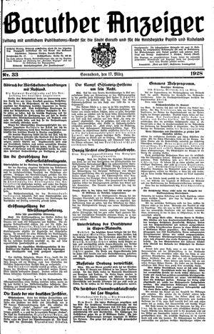 Baruther Anzeiger vom 17.03.1928