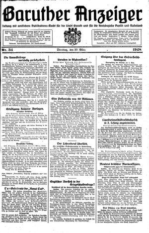 Baruther Anzeiger vom 20.03.1928