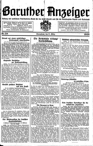 Baruther Anzeiger vom 31.03.1928