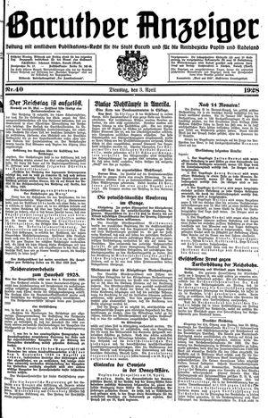 Baruther Anzeiger vom 03.04.1928