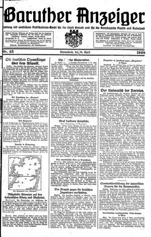 Baruther Anzeiger vom 14.04.1928