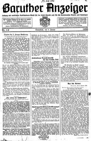 Baruther Anzeiger vom 04.01.1930