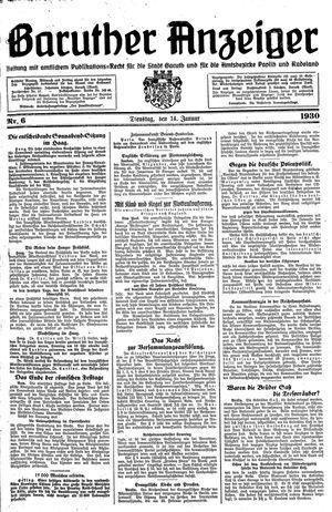 Baruther Anzeiger vom 14.01.1930