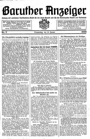 Baruther Anzeiger vom 16.01.1930