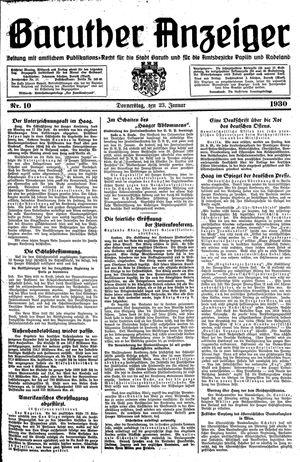 Baruther Anzeiger vom 23.01.1930