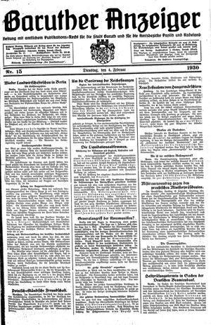 Baruther Anzeiger vom 04.02.1930