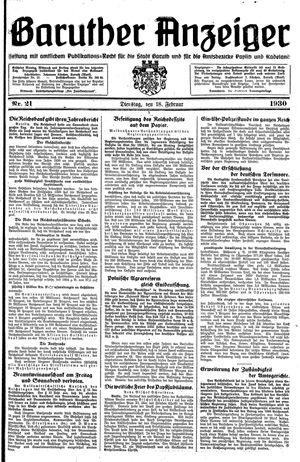 Baruther Anzeiger vom 18.02.1930