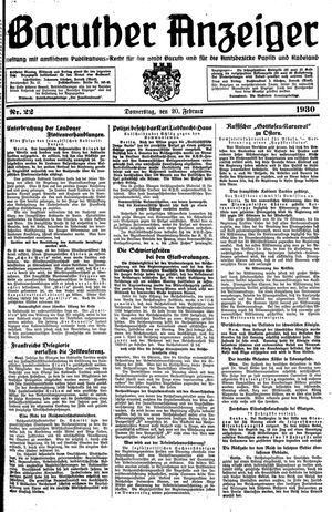 Baruther Anzeiger vom 20.02.1930