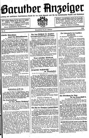 Baruther Anzeiger vom 22.02.1930