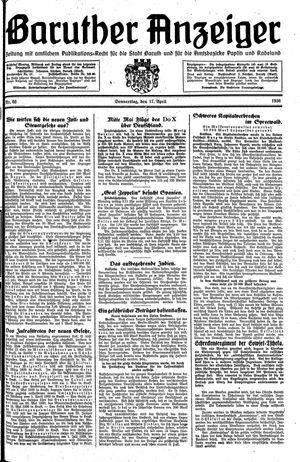 Baruther Anzeiger vom 17.04.1930