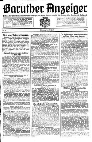 Baruther Anzeiger vom 21.07.1931