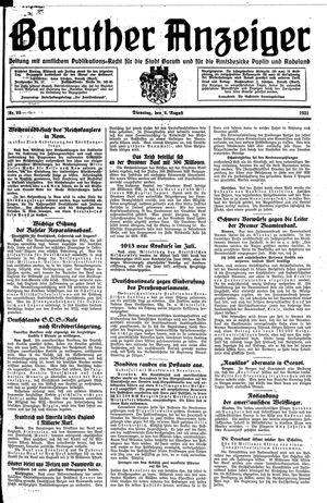 Baruther Anzeiger vom 04.08.1931