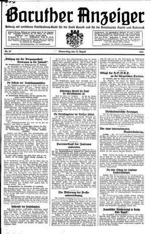 Baruther Anzeiger vom 13.08.1931