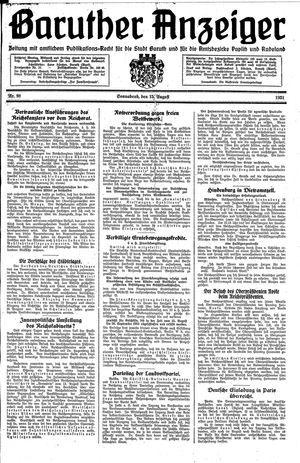 Baruther Anzeiger vom 15.08.1931