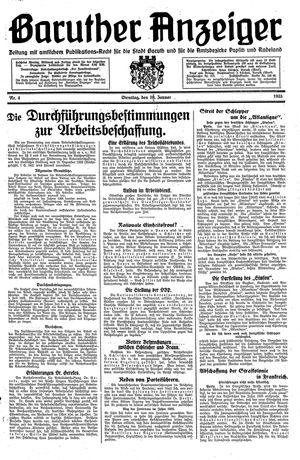 Baruther Anzeiger vom 10.01.1933