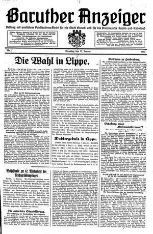 Baruther Anzeiger vom 17.01.1933