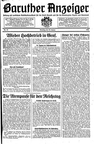 Baruther Anzeiger vom 24.01.1933