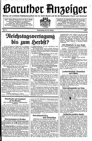 Baruther Anzeiger vom 26.01.1933