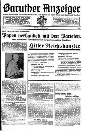 Baruther Anzeiger vom 31.01.1933