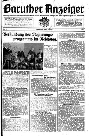 Baruther Anzeiger vom 02.02.1933