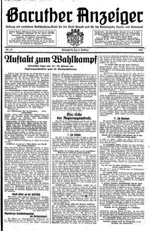 Baruther Anzeiger vom 04.02.1933