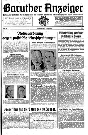 Baruther Anzeiger on Feb 7, 1933