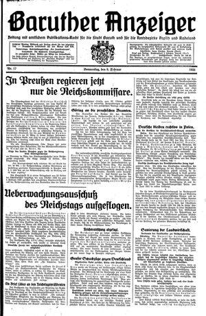 Baruther Anzeiger vom 09.02.1933