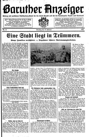 Baruther Anzeiger vom 14.02.1933
