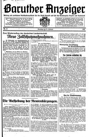 Baruther Anzeiger vom 21.02.1933