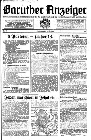 Baruther Anzeiger vom 23.02.1933
