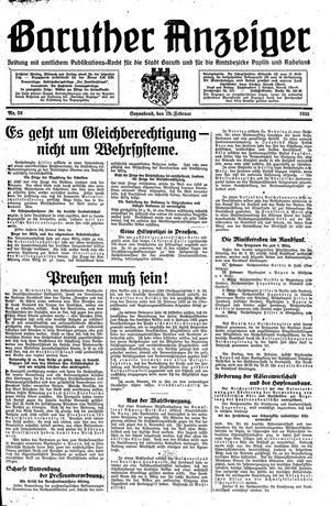 Baruther Anzeiger vom 25.02.1933