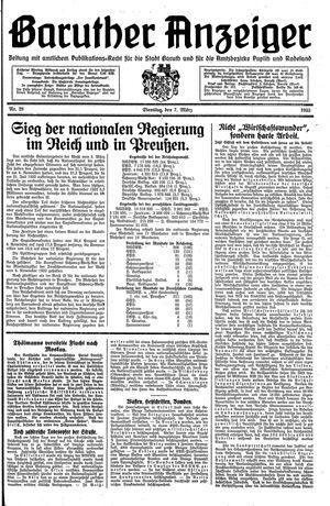 Baruther Anzeiger vom 07.03.1933