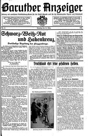 Baruther Anzeiger vom 14.03.1933
