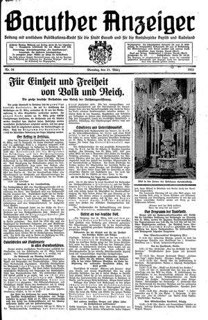 Baruther Anzeiger vom 21.03.1933