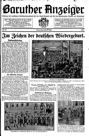 Baruther Anzeiger vom 23.03.1933