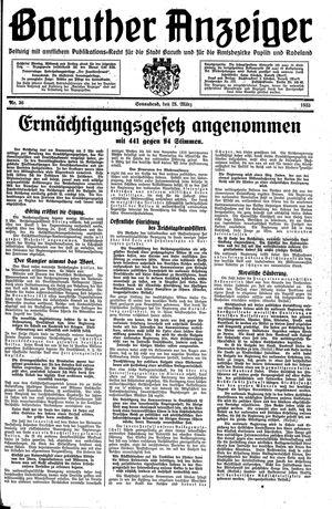 Baruther Anzeiger vom 25.03.1933