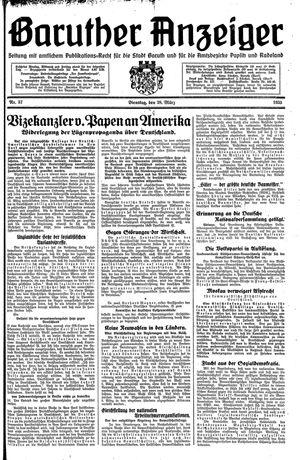 Baruther Anzeiger vom 28.03.1933