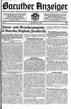Baruther Anzeiger vom 01.04.1933