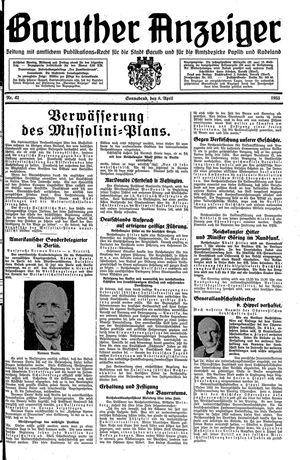 Baruther Anzeiger vom 08.04.1933