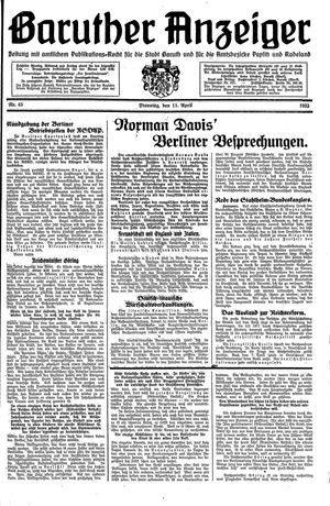 Baruther Anzeiger vom 11.04.1933