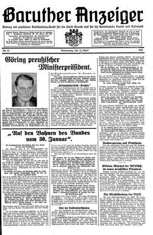 Baruther Anzeiger vom 13.04.1933