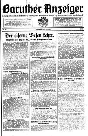 Baruther Anzeiger vom 15.04.1933