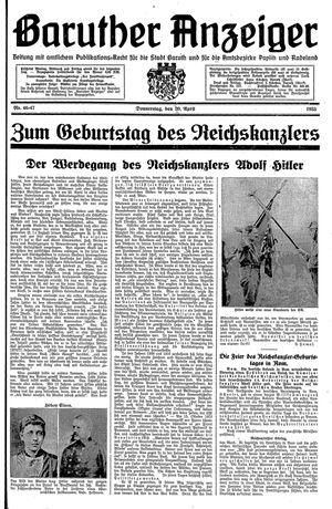 Baruther Anzeiger vom 20.04.1933