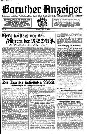 Baruther Anzeiger vom 25.04.1933