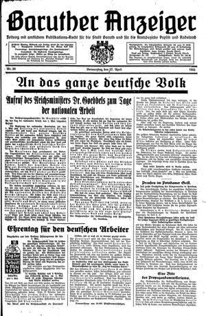 Baruther Anzeiger vom 27.04.1933