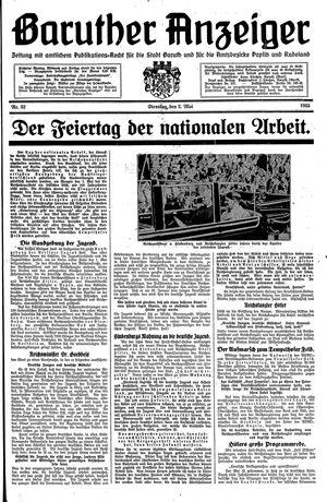 Baruther Anzeiger vom 02.05.1933