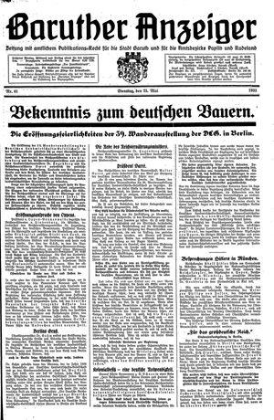 Baruther Anzeiger vom 23.05.1933