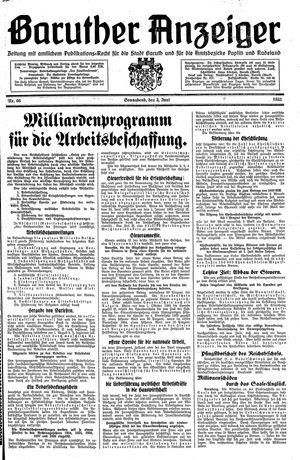 Baruther Anzeiger vom 03.06.1933
