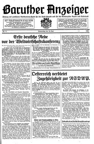 Baruther Anzeiger vom 15.06.1933