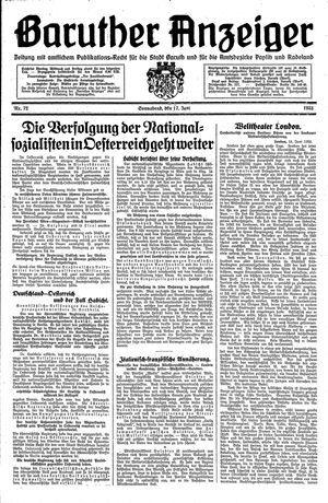 Baruther Anzeiger vom 17.06.1933